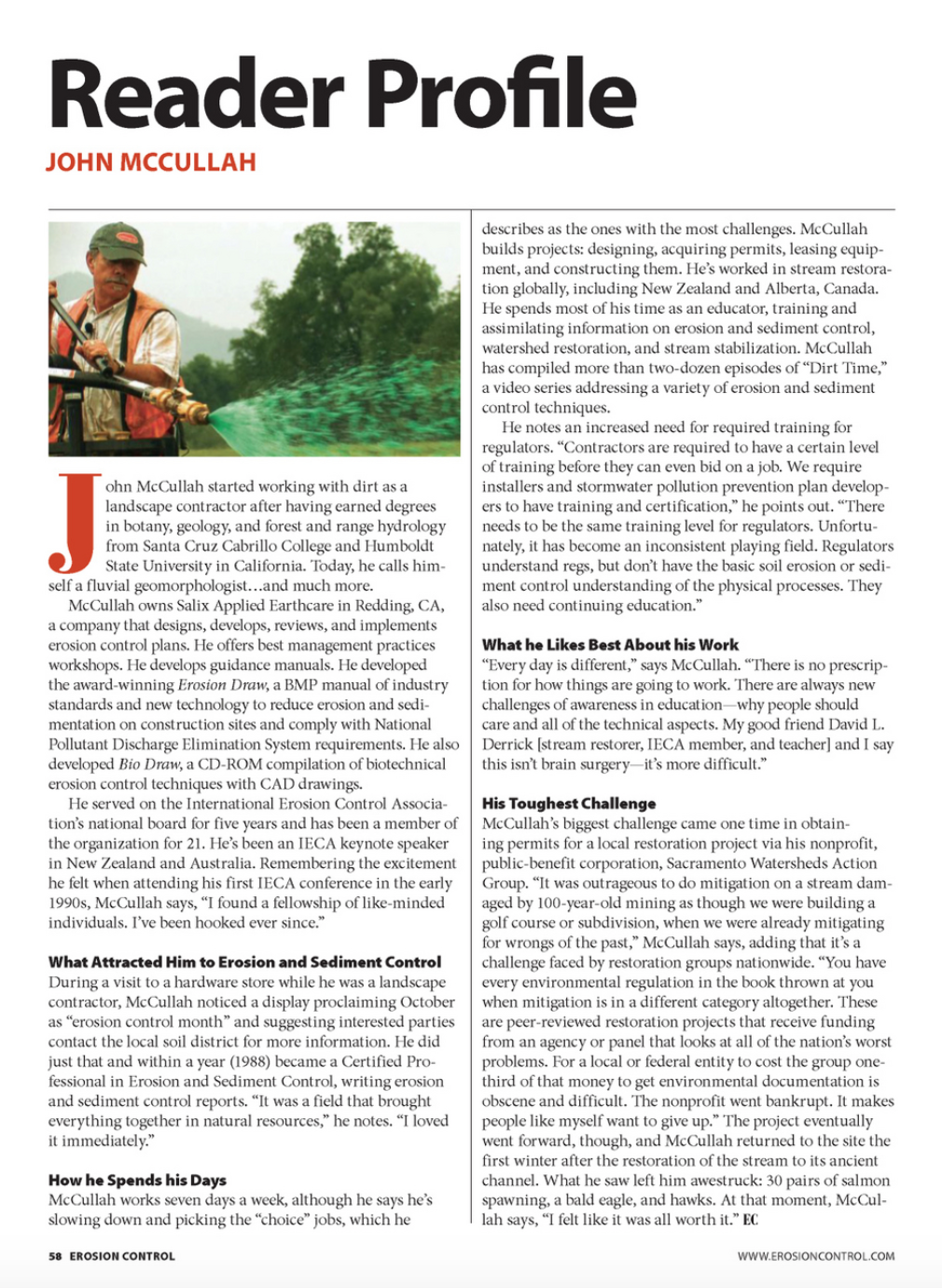 John McCullah Reader Profile from Erosioncontrol.com